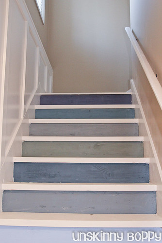 white and blue basement stairs