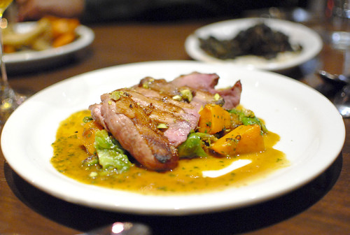 Wood grilled duck breast Brussels sprout leaves, kuri squash & Santa Barbara pistachios