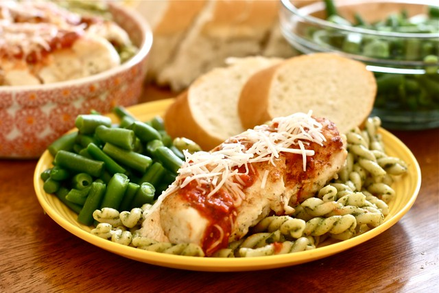Chicken Parm with pesto pasta 3