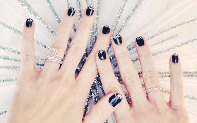 1-glitter french manicure  - tipped nails