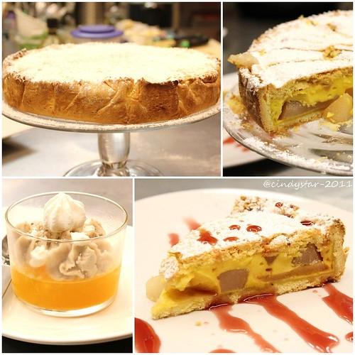 torta pere con salsa vino rosso-gelatina clementine,crema di castagne e yogurt