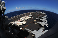 PACIFIC OCEAN (Dec. 9, 2011) Sailors conduct flight operations aboard the aircraft carrier USS Carl Vinson (CVN 70). Carl Vinson and Carrier Air Wing (CVW) 17 are currently underway on a Western Pacific deployment.  (U.S. Navy photo by Mass Communication Specialist Seaman George M. Bell)