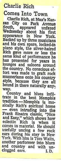 04-20-73 NYT Review - Charlie Rich @ Max's Kansas City