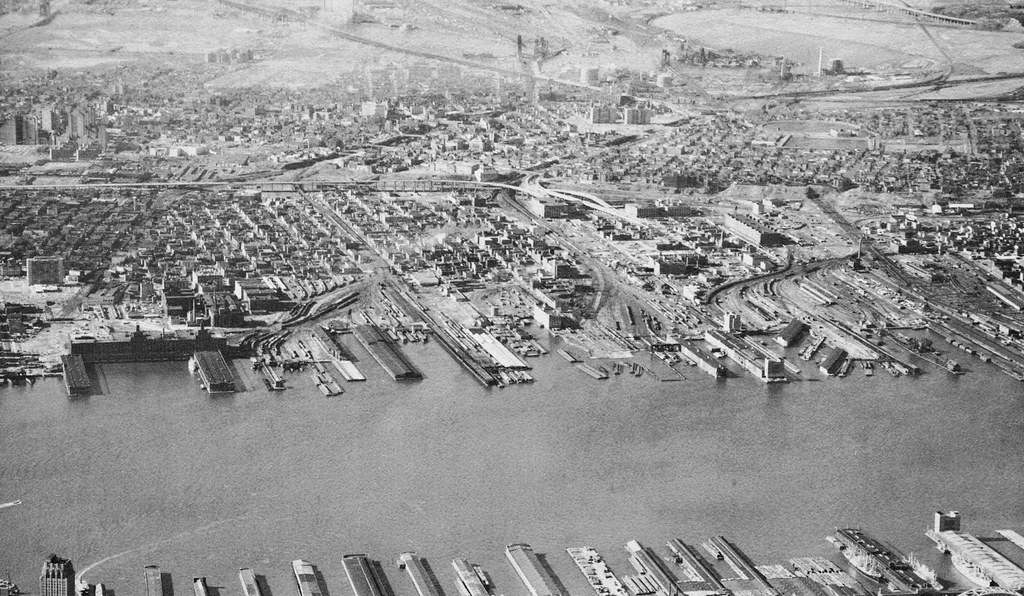 Jersey City from the air showing all the piers, factories and rail yards that still lined the Hudson River in 1962. All of this is now long gone. (please feel free to put notes on this!)