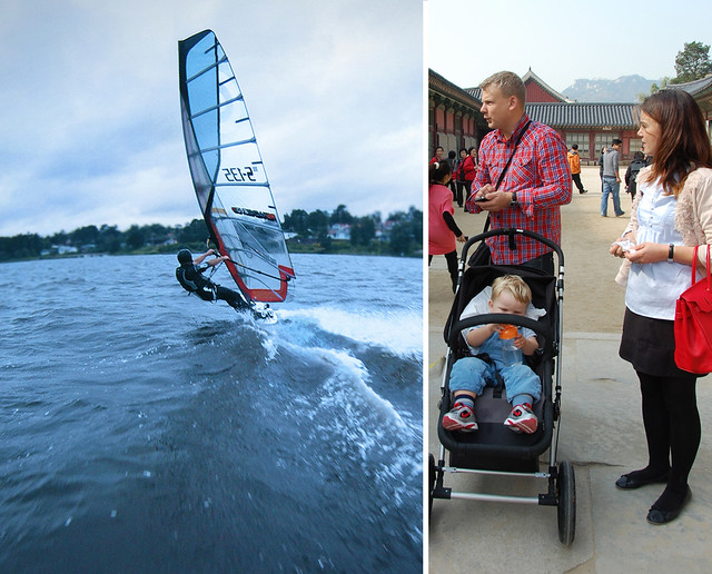 Lars Falk windsurfing and with his family