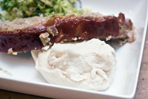 lime bean puree, meatloaf, shredded brussels sprouts