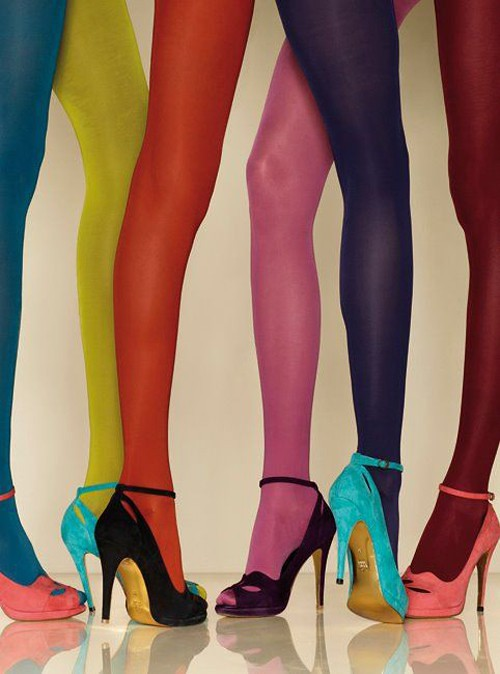 Black Tights And Coloured Shoes