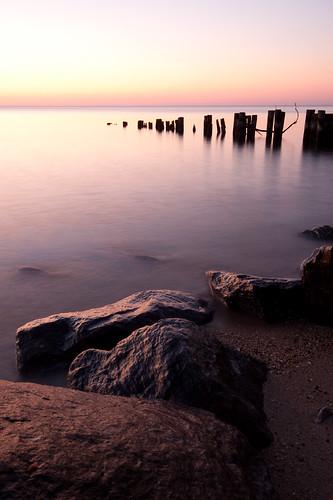longexposure morning beach water contrast sunrise dawn bay pier rocks shoreline maryland northbeach chesapeake chesapeakebay