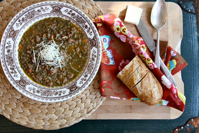 A Hot Bowl of Spicy Lentil Soup with Buttered Bread | Joy ...