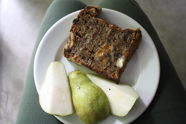 snack - toasted fruit bread w/ butter and pears