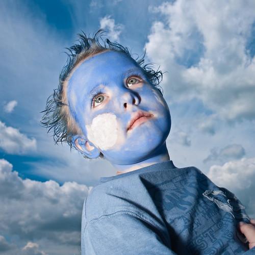 無料写真素材, 人物, 子供  男の子, 空, 青空, フェイス・ボディペインティング