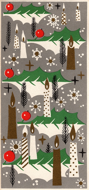 Vintage 1960s Christmas Card - Candles and Holly