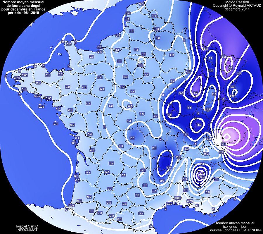 nombre moyen mensuel de jours sans dégel ou avec gel permanent au mois de décembre en France pour la période 1981-2010