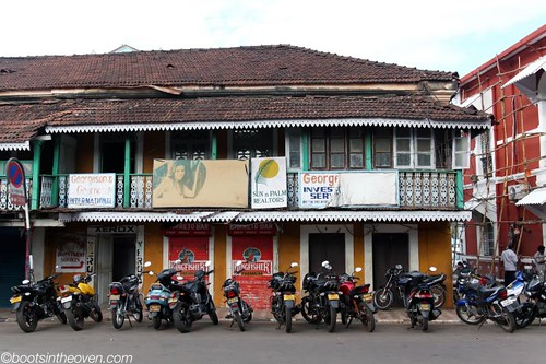 Panjim architecture with motos