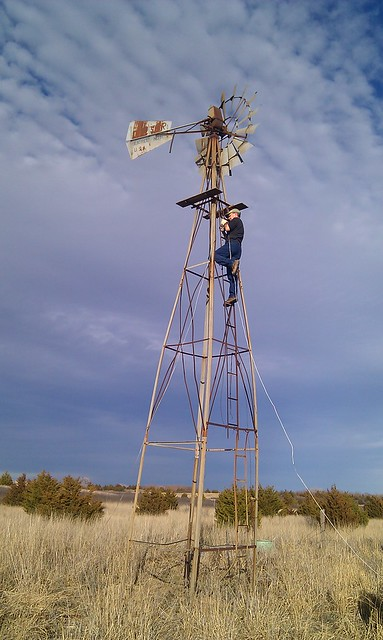 Mr. McCray up the tower.
