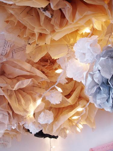 pompoms + paper garland