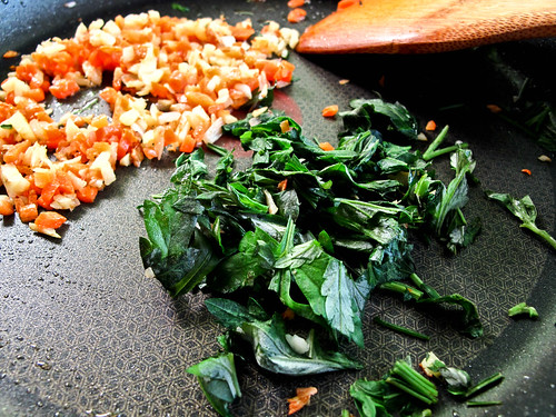 IMG_0732 Artemisia Argyi,chopped carrot , ginger , onion and garlic