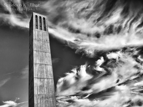 sky bw tower clock monochrome santabarbara clouds canon university campanile nik ucsb formations s90 storke silverefex hdrefex