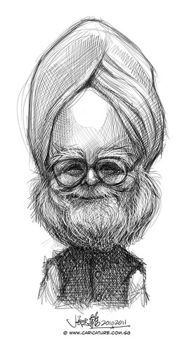 digital caricature sketch of India prime minister Manmohan Singh