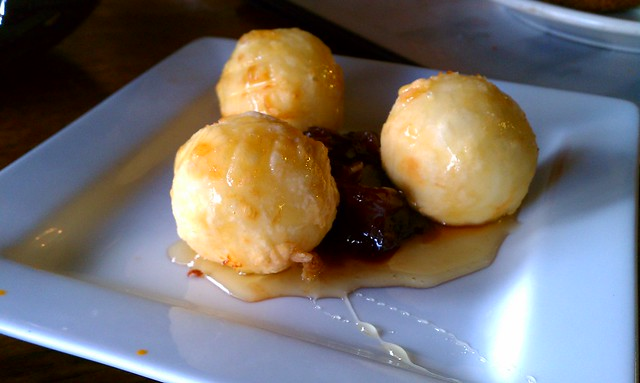 Fried Goat cheese with Caramelized Onions drizzled with Honey