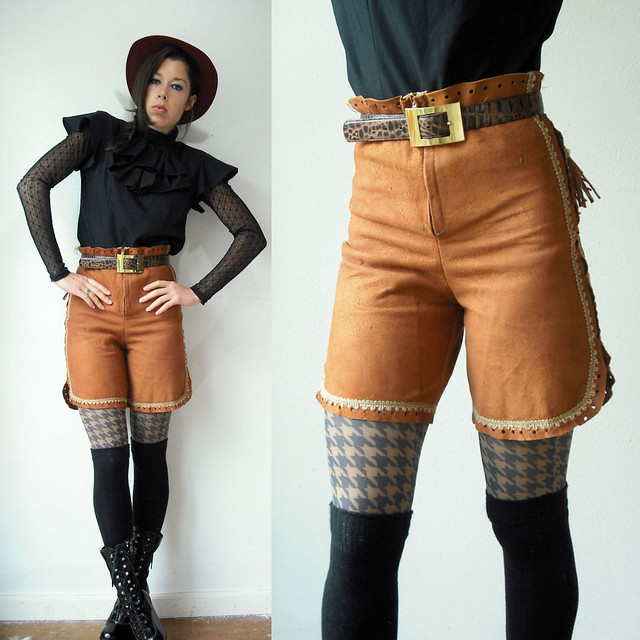 leather suede fringe shorts
