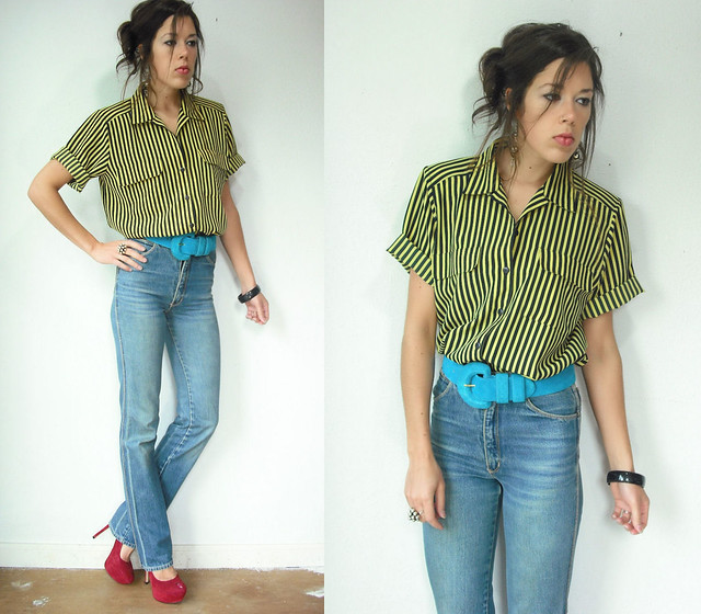 yellow and black stripe blouse