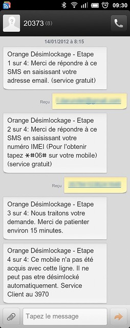 orange sms desimlockage fail