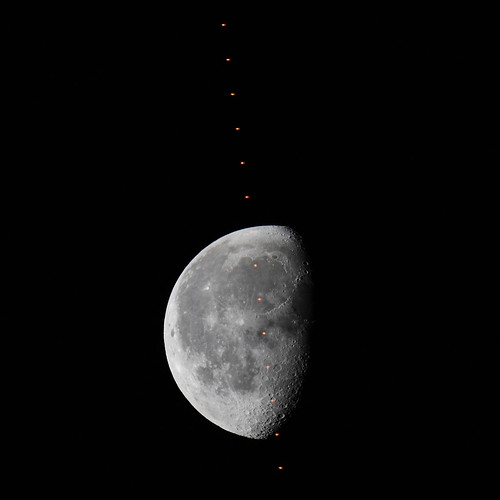 ISS Pass in Front of the Moon (exaggerated contrast)