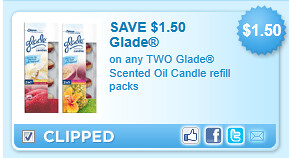 Glade Scented Oil Candle Refill Packs Coupon