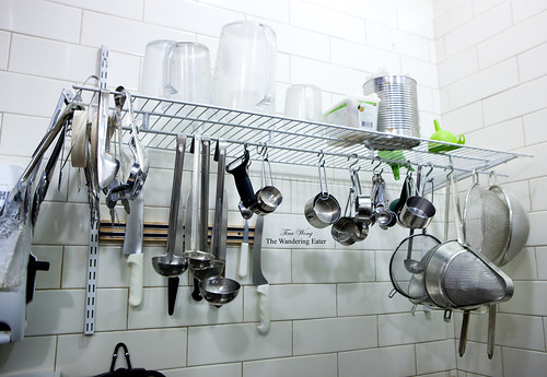 Baking tools and instruments above the sink