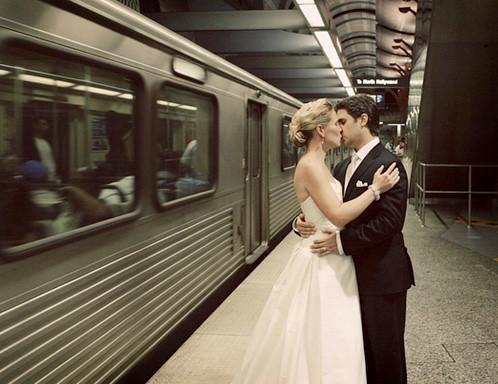 Wedding Day Subway Kiss