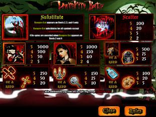 free Vampire Bats slot payout