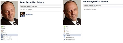 Paul Flynn MP removes Peter Reynolds as Facebook friend