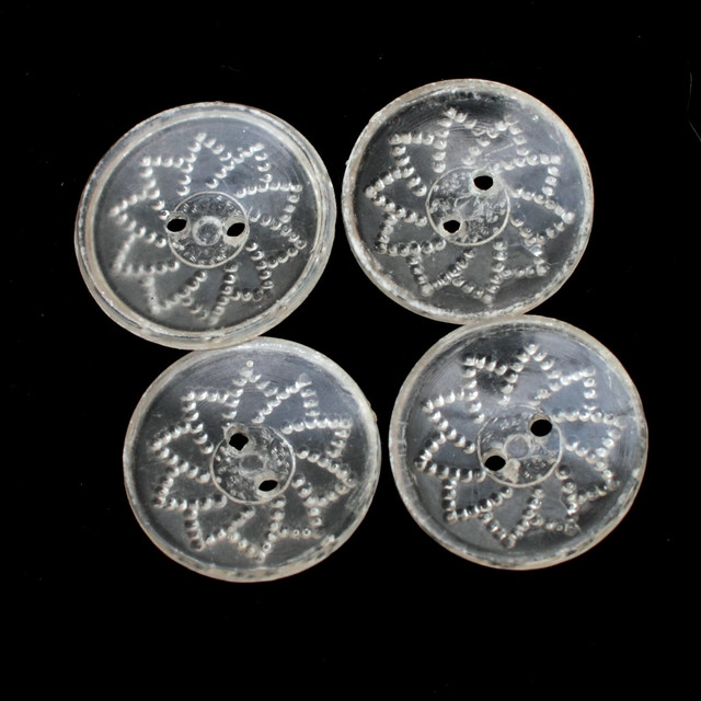 4 vintage clear plastic patterned buttons – 17mm