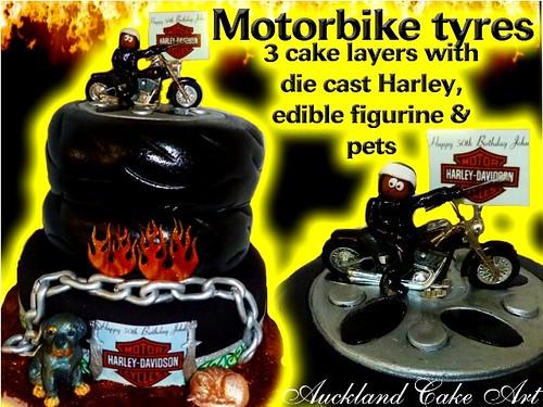 HARLEY DAVIDSON MOTORBIKE TYRE CAKE