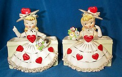 Reliable Glassware Twin Valentine Lady Planters -1956 Japan