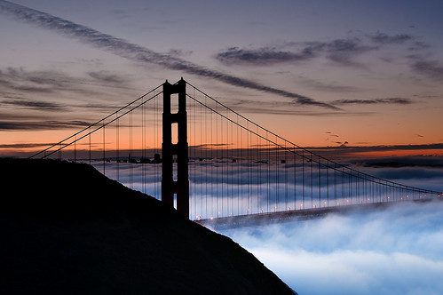 Foggy Sunrise and Silhouette of the Golden Gate Bridge