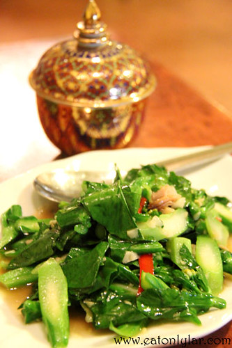 Stir-fried Hong Kong Kailan with Salted Fish, Erawan Classic Thai & Fusion