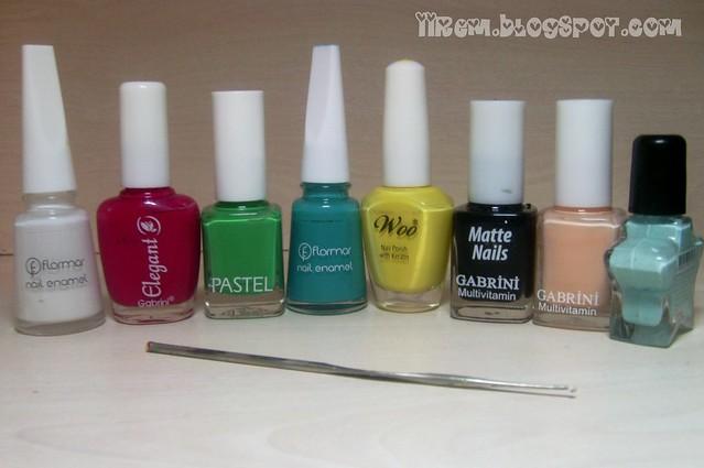 Soldan sağa ; Flormar 310 , Elegant Gabrini 359,Pastel 307,Flormar 429 , Woo 589,Gabrini Matte Nails 399 , Gabrini 307, Franke