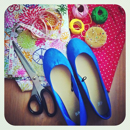 I need to refresh my step. Gonna pimp my flat shoes. Which one goes better with my blue shoes, the polka dots one or the flower one?