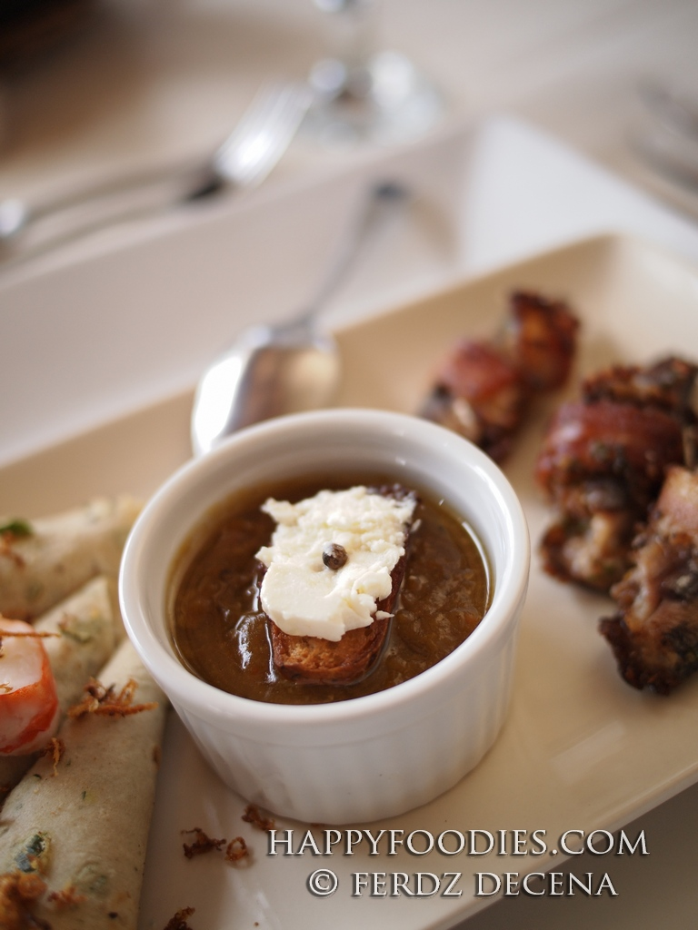 Cream of Roasted Vegetables Soup and Goat Cheese Crouton