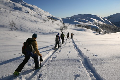 Etter nedkjøring fra Kvitingane gikk turen videre til Rustehaugnosi. Foto Jørgen Aamot