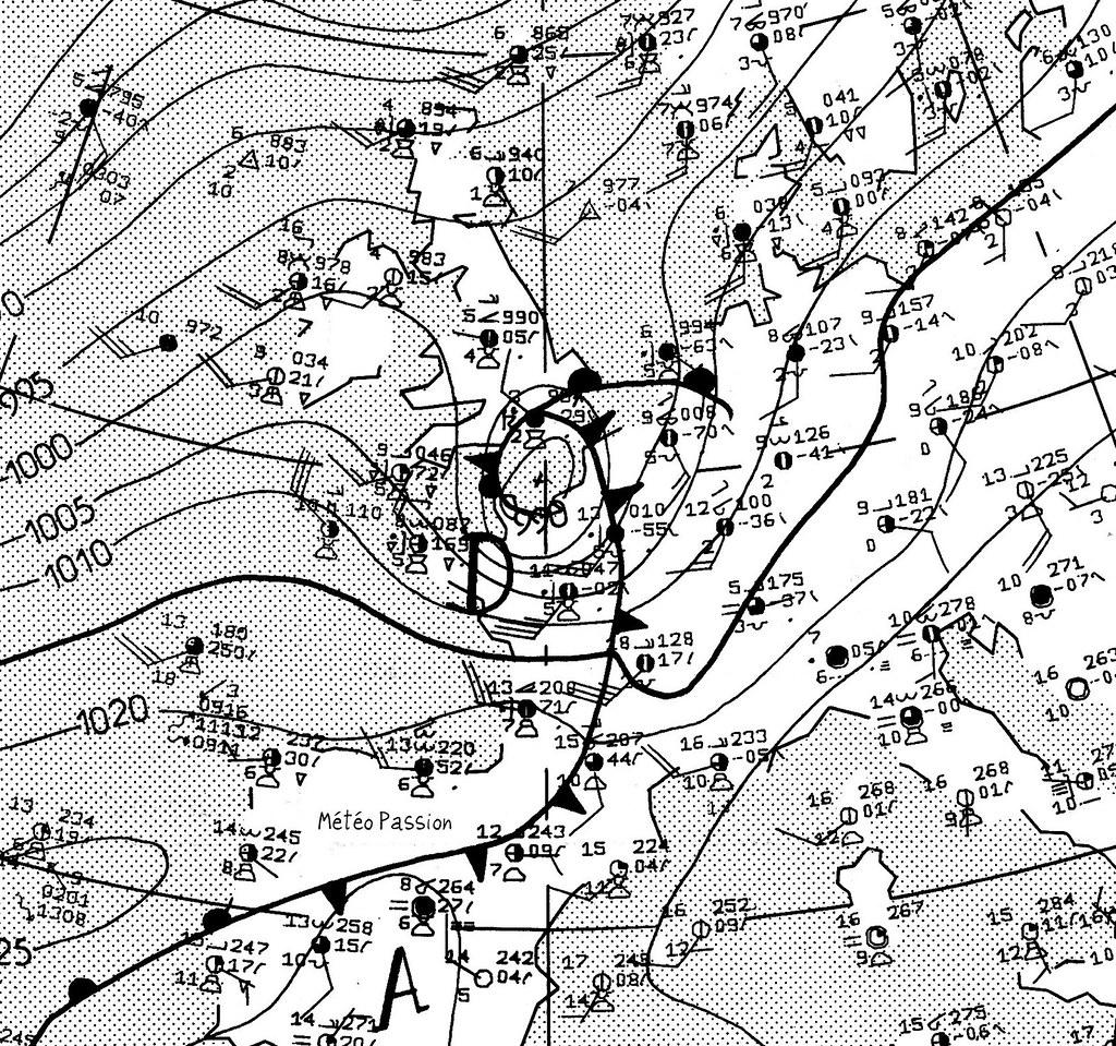 carte de situation de la tempête du 3 février 1990 à 12 heures météopassion