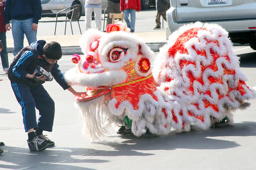 Boy Filming the Chinese Lion