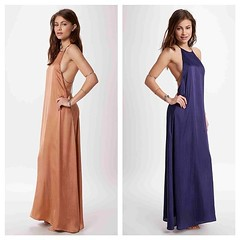 day dress, neck, gown, clothing, purple, peach, woman, female, person, dress,