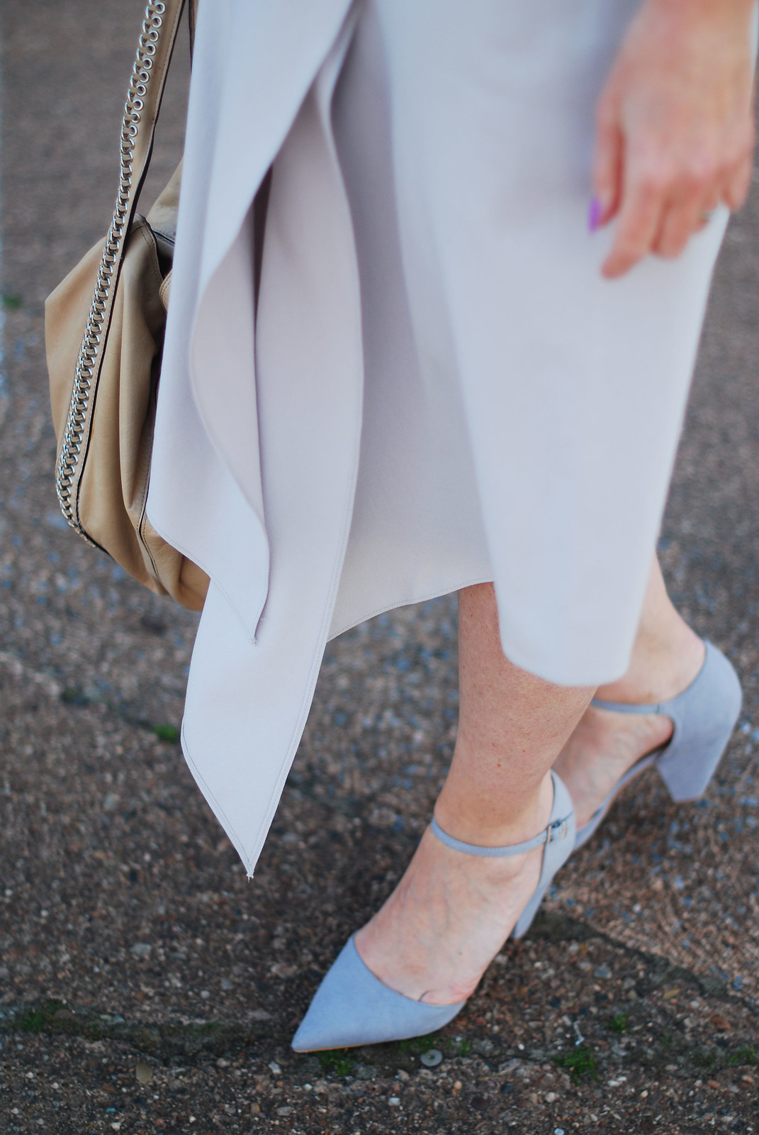 Ladylike Spring/Summer look: Pastel grey assymetric hem midi skirt, grey strappy heels| Not Dressed As Lamb