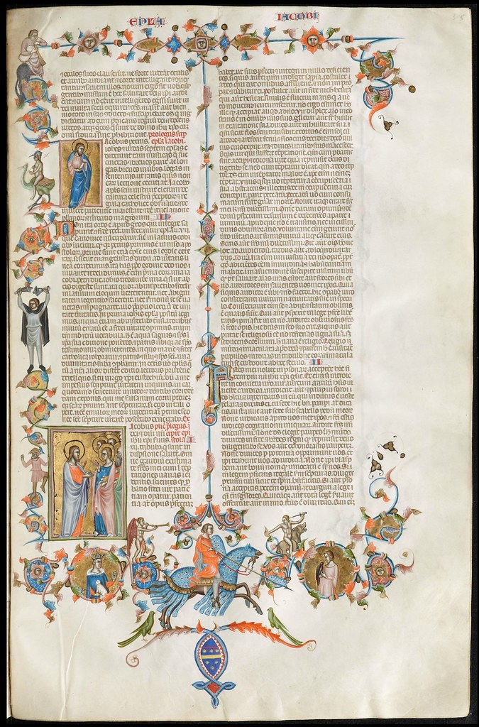 Anjou Bible folio 305r text and decoration