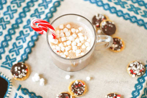 Hot chocolate, cookies, marshmallows, yum!
