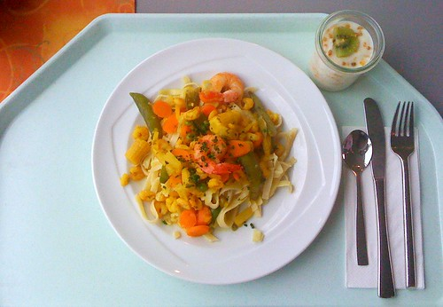 Shrimps Currynudeln & Scampi