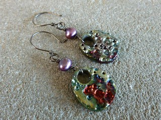 Pearl and Raku Earrings